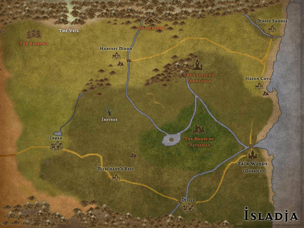 A map of the fantasy country, Isladja.