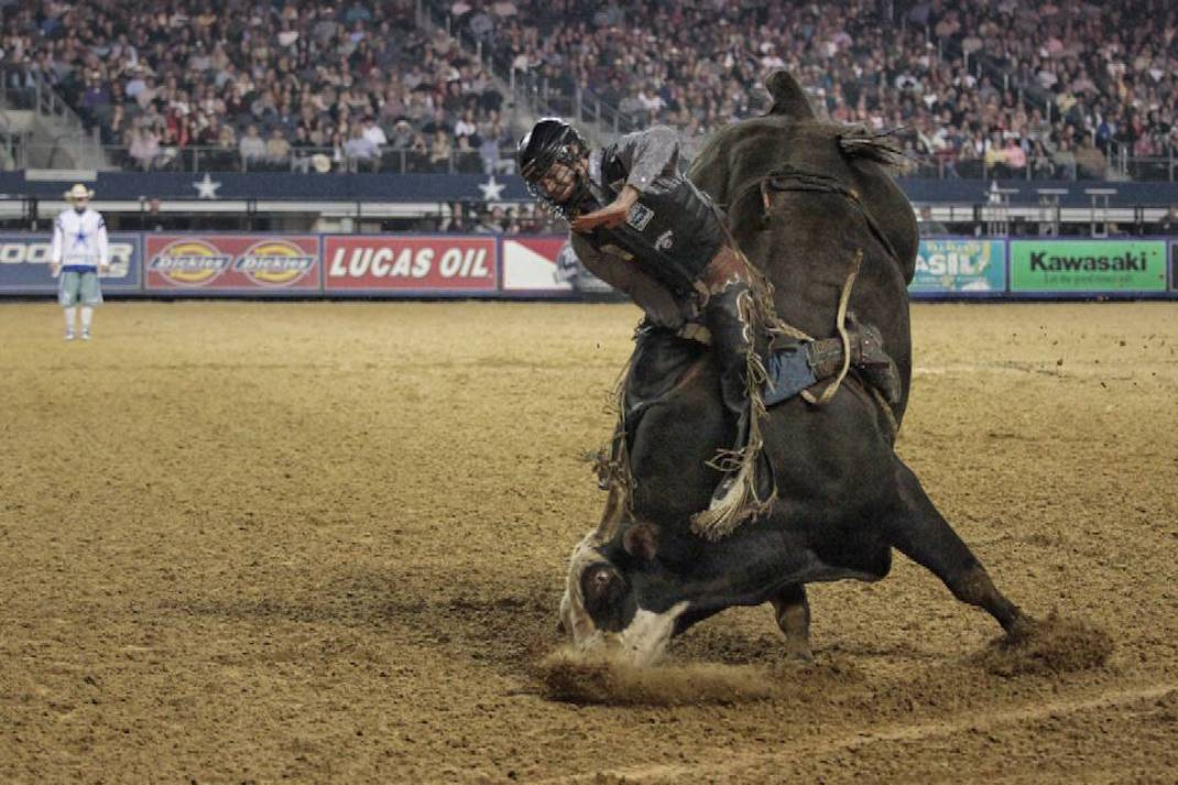 """""""Nose dive"""" during the 2013 PBR Iron Cowboy event in Cowboy (now AT&T) stadium."""