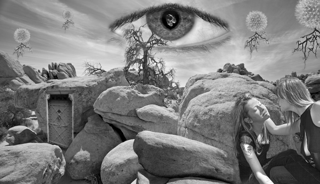 """My homage to surrealist master photographer Jerry Uelsmann. Joshua Tree Nat'l Park with additions including my oldest daughter Melissa and the combined image of my 2 youngest eyes as """"the all seeing eye in the sky"""""""
