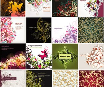 Floral background vector pack