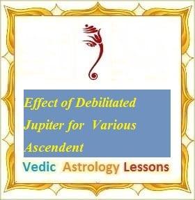 Effect of Debilitated Jupiter for  Various Ascendent Lagna
