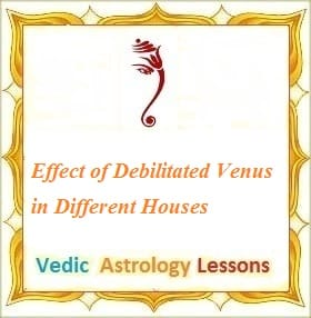 Effect of Debilitated Venus in Different Houses