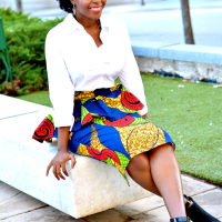 N'omose Couture Ankara Peplum Midi Pencil Skirt