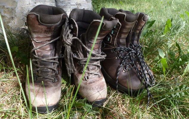 Two pairs of well-used Veggie Trekkers. The pair on the right has recently been waterproofed in preparation for a hike.