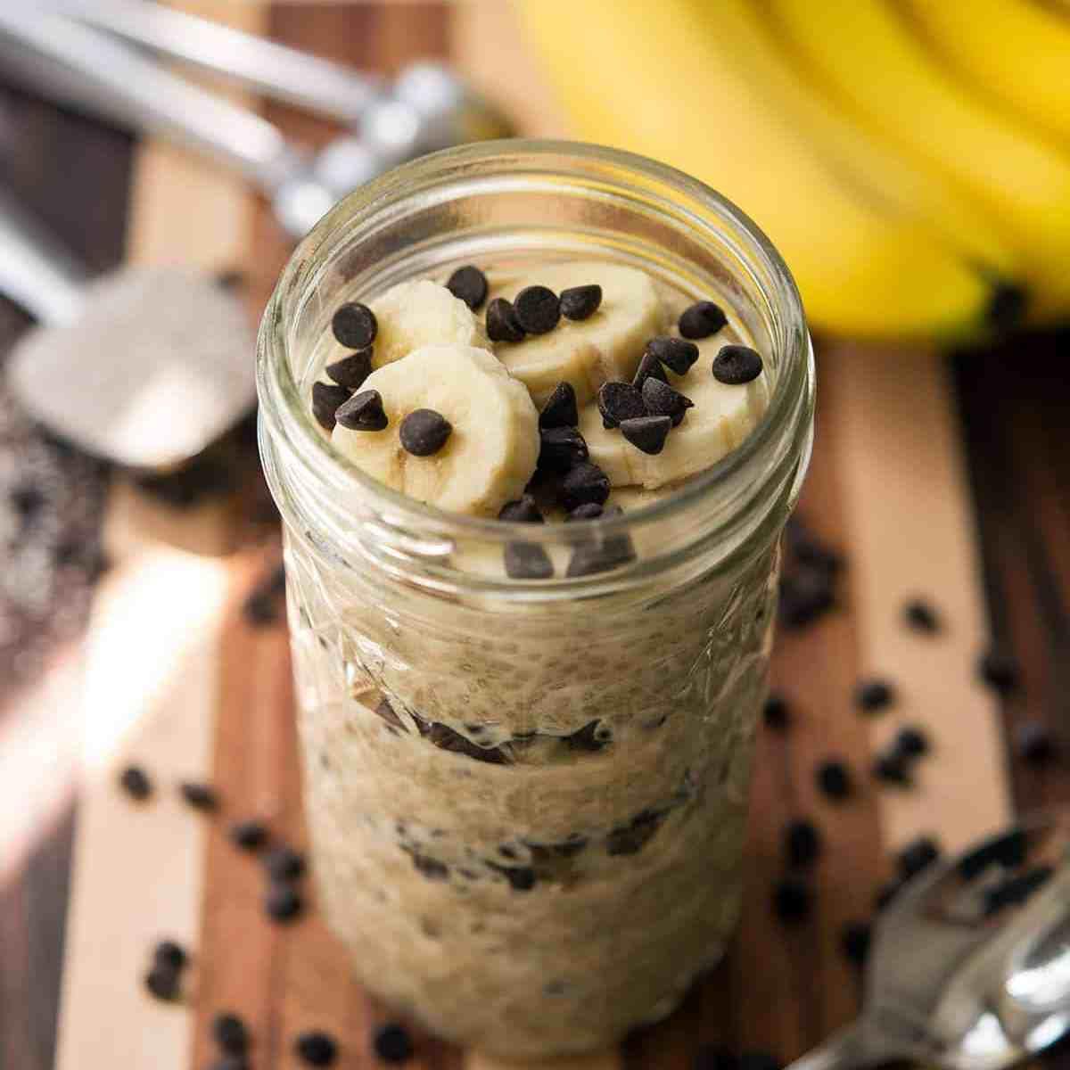 Peanut Butter Chocolate Banana Chia Parfait