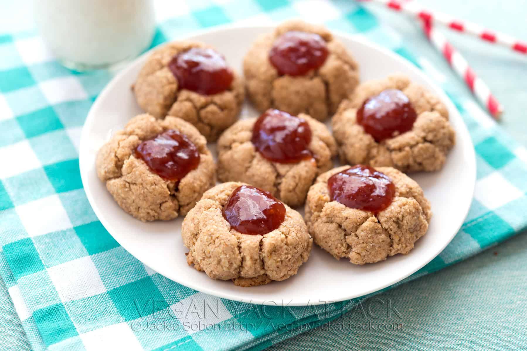 Gluten-free Almond Butter-Jam Thumbprint Cookies