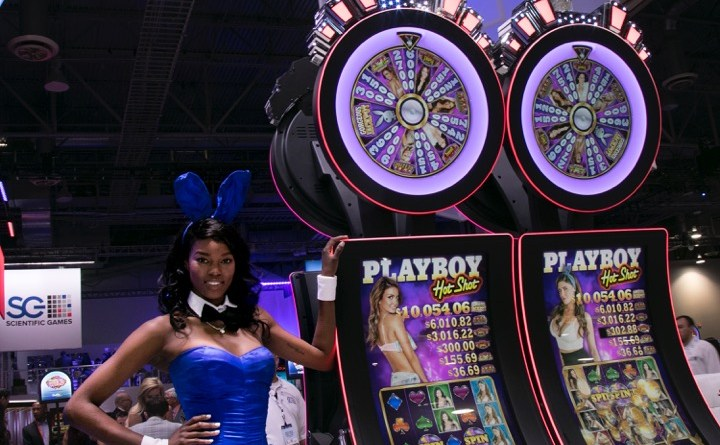 Playmate of the Year Eugena Washington with Scientific Games