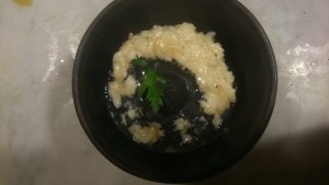 Cheese risotto with garlic oil icecream