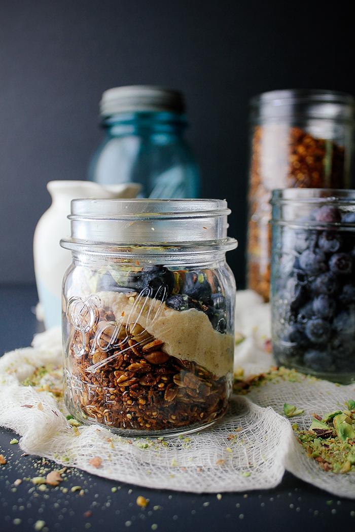 Blueberry Pistachio Parfait with Quinoa Granola and Maple ...