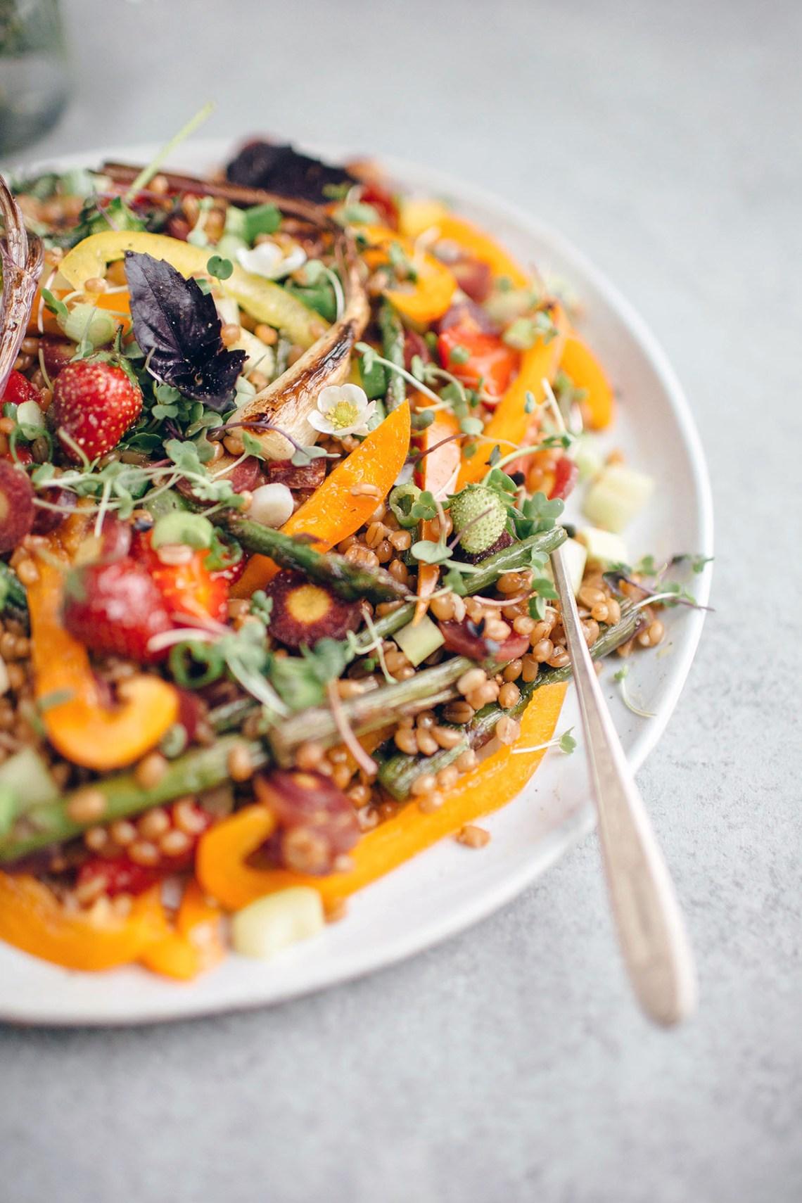 Vegetarian Spring Wheat Berry Salad recipe below: