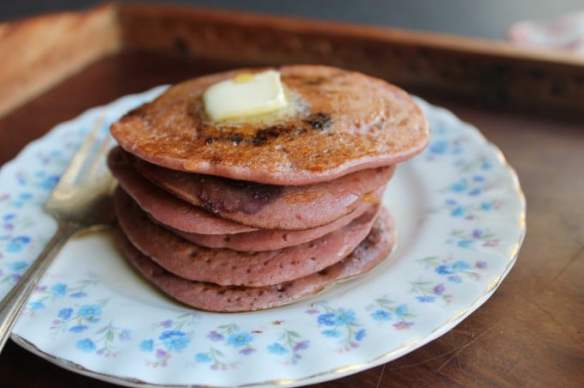 Beet Blueberry Buckwheat Pancakes