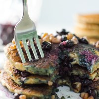 Oatmeal Chia Pancakes with Blueberry Walnut Syrup - V and GF
