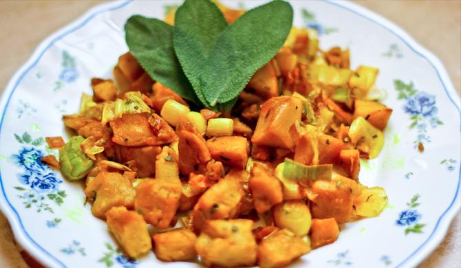 Bocconcini di Soia con Zucchine, Carote, Salvia & Curry (gluten free)