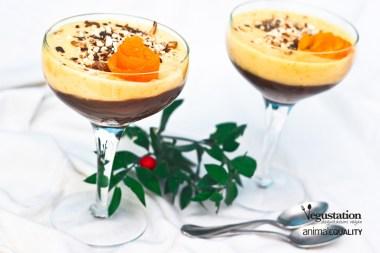 Crema di Mandorla all'Arancia su letto di Mousse al Cioccolato