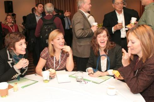 Technologist and environmentalist Mary Vincent (far right) meets with other GreenBeat 2009 attendees over drinks