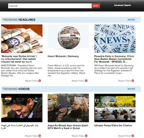 TrendSpottr Mubarak Trending Results
