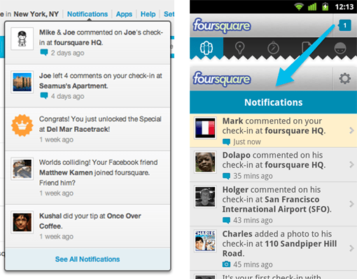 Foursquare Android Notifications