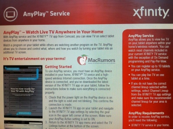 Comcast AnyPlay Screen