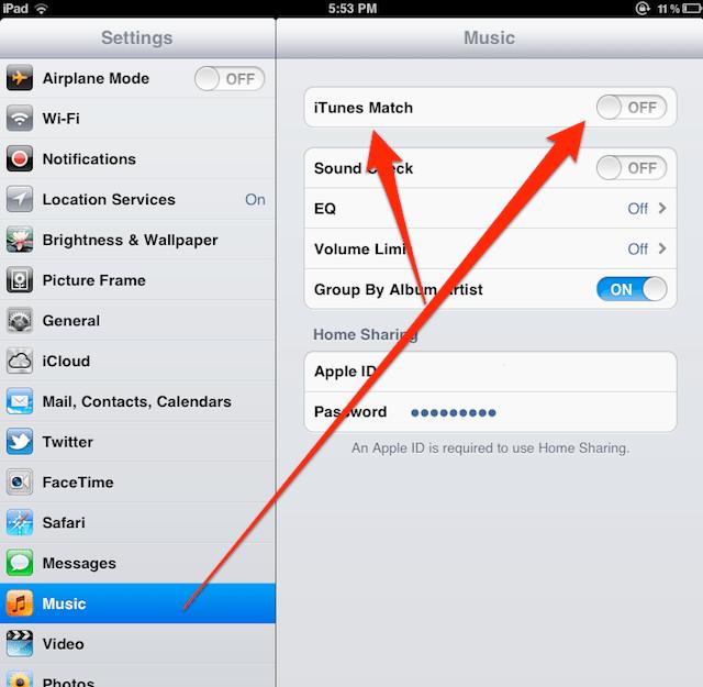 iTunes Match button