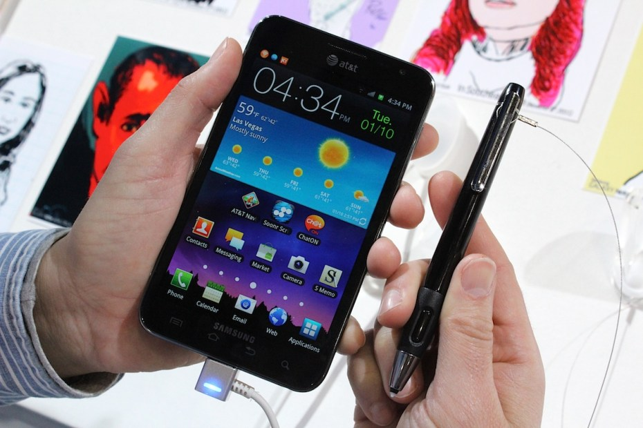 The Galaxy Note has a touchscreen, but also come with a stylus, which is easier for handwriting.