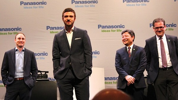 Justin Timberlake onstage with Panasonic and Myspace executives