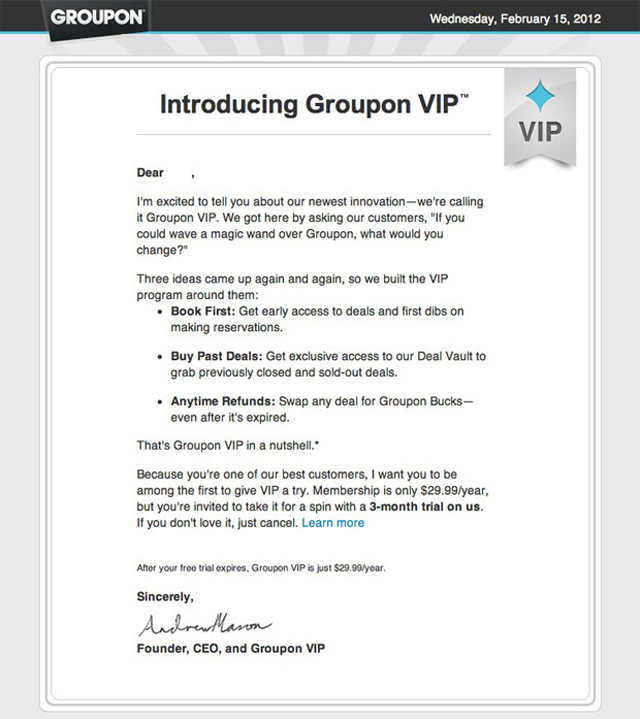 groupon-vip-letter