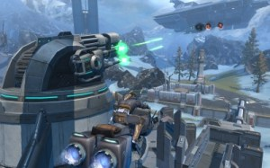 Huge battle arena warzone with glider in foreground Star Wars The Old Republic