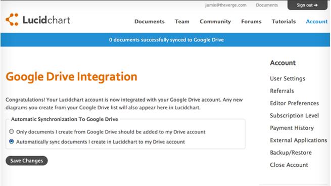 Lucidchart Google Drive leaked screenshot