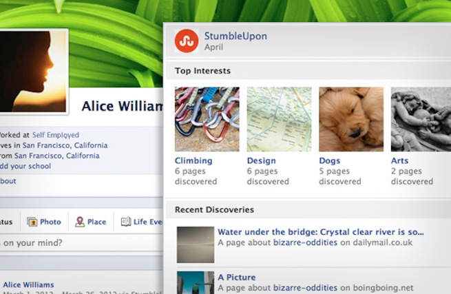 StumbleUpon Facebook app screenshot
