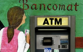 Photo of an ATM machine illustrates financial services startups