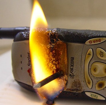 burning phone on fire
