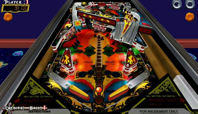The Black Knight table in Pinball Arcade