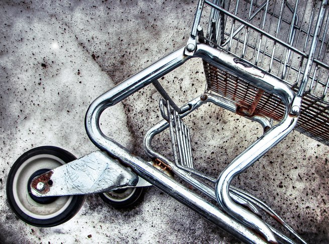 overturned shopping cart