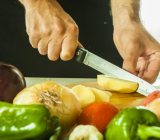 healthy food cutting vegetables