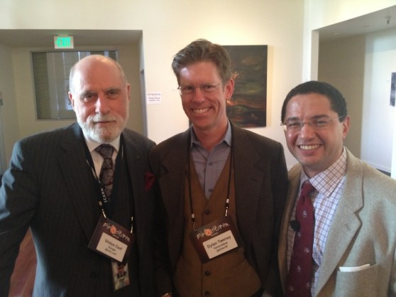 Vint Cerf, VentureBeat's Dylan Tweney, and Egnyte's Marcos Sanchez