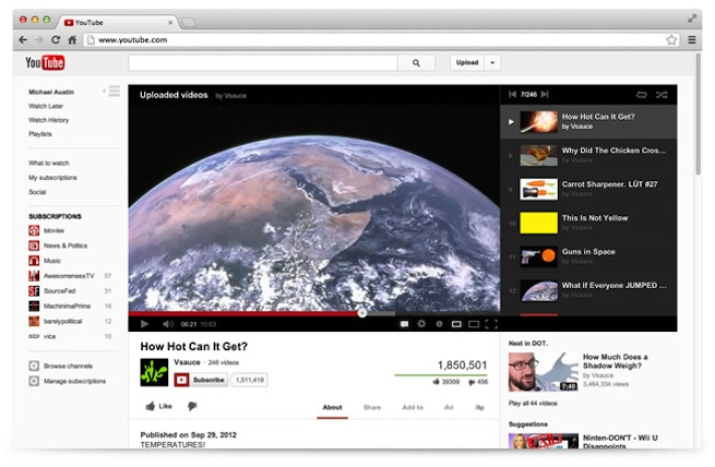 YouTube New Design 1