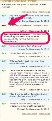 Amazon review page, showing negative feedback about shipping canceled by Amazon