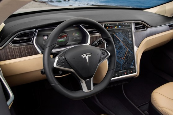 Tesla Model S steering wheel and console