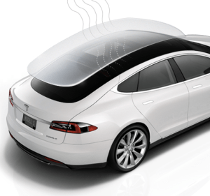 Schematic of Tesla Model S sunroof