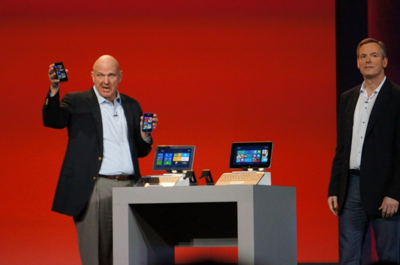 The Microsoft CEO left the opening keynote spot a year ago, but he reeturned for a cameo to talk about Windows Phone 8.