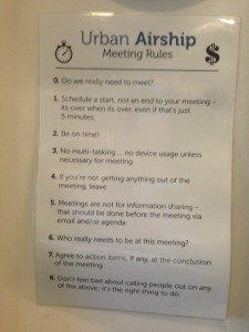 Meeting rules posted at Urban Airship in Portland, Ore.