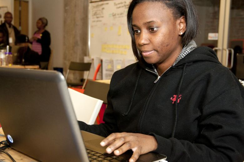 A #blackhack participant codes away through the night