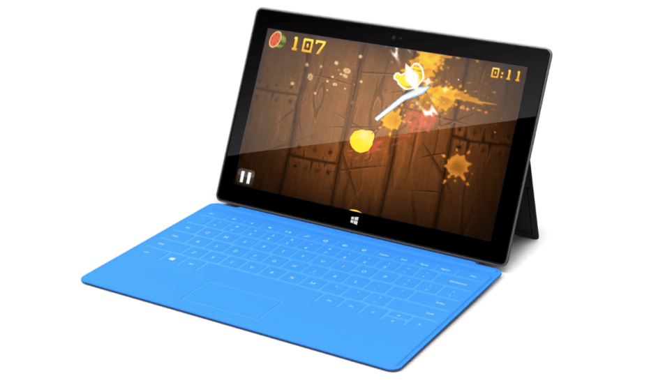 Fruit Ninja on a Microsoft Surface, powered by BlueStacks