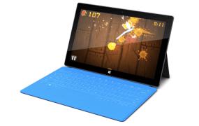 Fruit Ninja on a Microsoft Surface, powered by BlueStacks