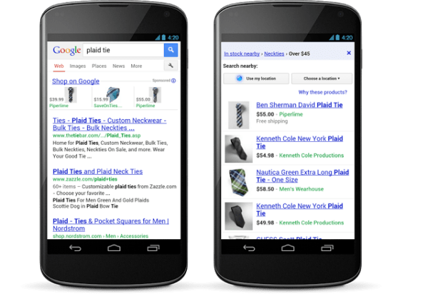 Google mobile shopping ads