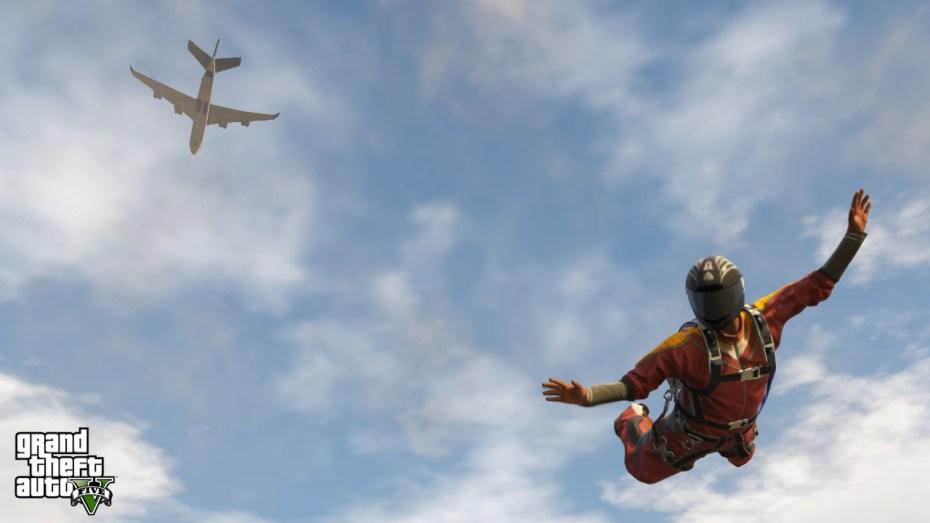Grand Theft Auto V skydiving screenshot.