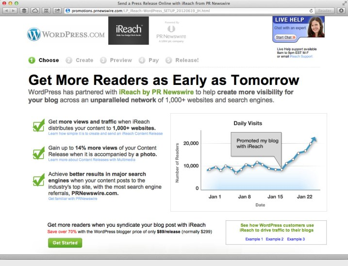 Wordpress and iReach testing promoted posts