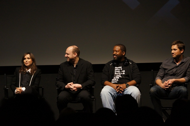The full crew: Ellen Page, David Cage, Kadeem Harrison, and Eric Winter.