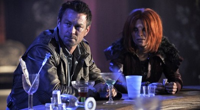 Nolan and Irisa at a bar in Defiance