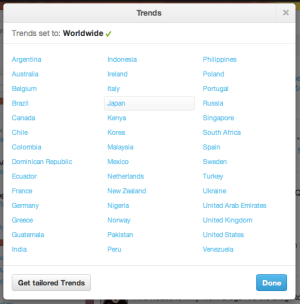 Twitter Trends - countries